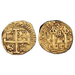 Lima, Peru, cob 8 escudos, 1733N, NGC MS 61.