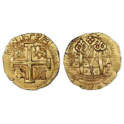 Lima, Peru, cob 8 escudos, 1735/4N, NGC AU 55.