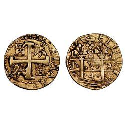 Lima, Peru, cob 8 escudos, 1747V, Ferdinand VI, NGC AU details / removed from jewelry.