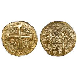 Lima, Peru, cob 8 escudos, 1749R, NGC AU 55.