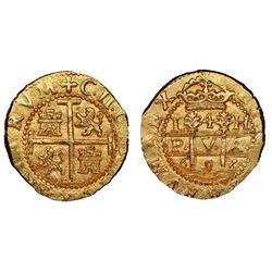 Lima, Peru, cob 4 escudos, 1697/6H, rare, NGC MS 64, ex-1715 Fleet (designated on special label).