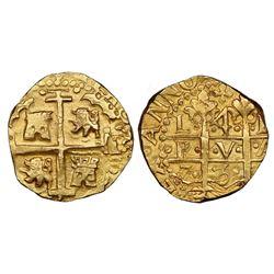 Lima, Peru, cob 4 escudos, 1750R, NGC MS 64 / La Luz.