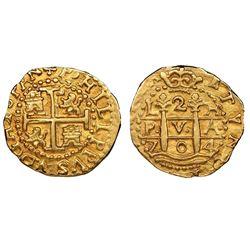 Lima, Peru, cob 2 escudos, 1704H, rare, NGC AU 58, ex-1715 Fleet (designated on special label), fine