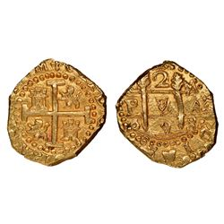Cuzco, Peru, cob 2 escudos, 1698M, NGC MS 64, ex-1715 Fleet (designated on special label).