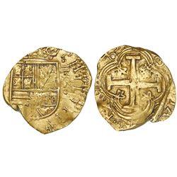 Bogota, Colombia, cob 2 escudos, (16)49, assayer R below denomination II to right.