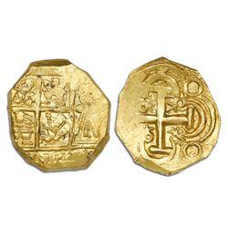 Bogota, Colombia, cob 2 escudos, posthumous Charles II, no assayer (Arce), lions and castles transpo