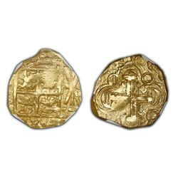 Bogota, Colombia, cob 2 escudos, posthumous Charles II, no assayer (Arce), lions and castles transpo