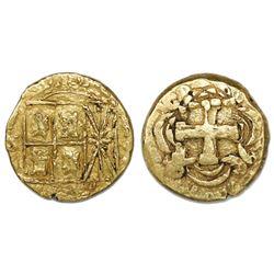 Bogota, Colombia, cob 2 escudos, Ferdinand VI, assayer S to left, mintmark F(S) to right.