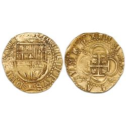 Seville, Spain, cob 4 escudos, 159(0?) date to right, assayer Gothic D below mintmark S and denomina