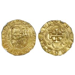 Seville, Spain, cob 2 escudos, Philip II, assayer Gothic D below mintmark S to left, with king's ord