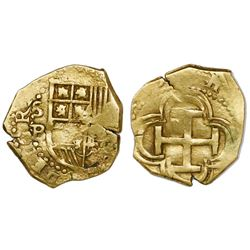 Seville, Spain, cob 1 escudo, Philip II, assayer B.