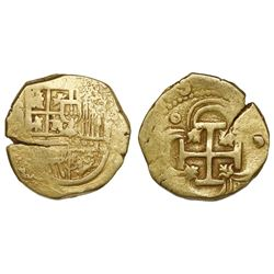 Seville, Spain, cob 2 escudos, Philip II or III, assayer not visible.