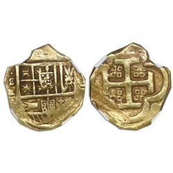 Seville, Spain, cob 4 escudos, Philip IV, assayer R, NGC AU 55.
