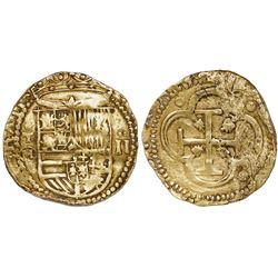 Toledo, Spain, cob 2 escudos, Philip II, assayer M-in-circle below mintmark oT to left.