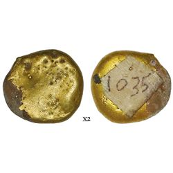 "Small, round gold ""pancake,"" 11.94 grams, ex-Espadarte (1558), with Sotheby's catalog."