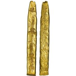 "Colombian gold ""finger"" bar ex-Atocha (1622) 669 grams SARGOSA / PECARTA"