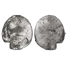 "Silver ""splash"" ingot, 815 grams, marked with fineness IIU CCC L (2350/2400) and two crowned-C tax s"