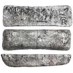 Large silver ingot #149 from Oruro, 72 lb troy, Class Factor 0.7, with markings of fineness IIUCCCLX