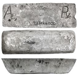 Large silver ingot #158 from Oruro, 82 lb 9.92 oz troy, Class Factor 0.8, with markings of manifest