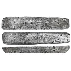 "Silver ""barreton"" ingot #845, 17 lb 1.44 oz troy, Class Factor 0.6, marked with fineness IIUCCCLXXX"