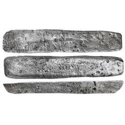 "Silver ""barreton"" ingot #845, 17 lb 1.44 oz troy, Class Factor 0.6, marked with fineness IIUCCCLXXX"