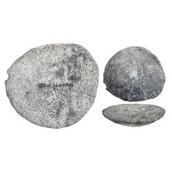 "Large silver ""torta"" (oval ingot), 24307 grams, marked with fineness IIUCCCLXXVII(?), ex-1733 Fleet"