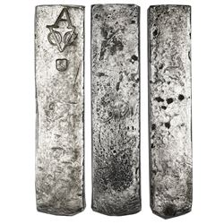 Neatly formed silver ingot, 1958 grams, about 98.5% fine, with stamps of the Amsterdam chamber of th