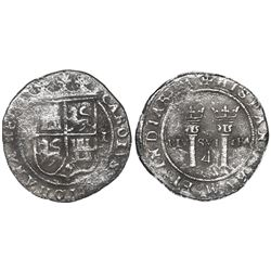 """Mexico City, Mexico, 4 reales, Charles-Joanna, """"Late Series,"""" assayer L to right, mintmark M to left"""