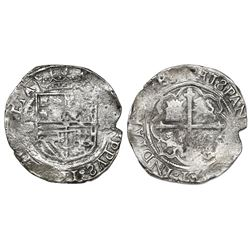 Mexico City, Mexico, cob 4 reales, Philip II, assayer O below mintmark oM to left, denomination IIII