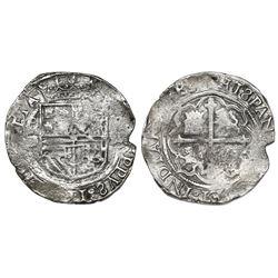 Mexico City, Mexico, cob 4 reales, Philip II, assayer O below mintmark oM to left, denomination IIII