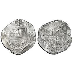 Seville, Spain, cob 8 reales, Philip II, assayer Gothic D with open right side at 4 o'clock outside