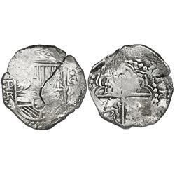 Potosi, Bolivia, cob 8 reales, Philip III, assayer R (curved leg), Grade 2, ex-Vanguard.