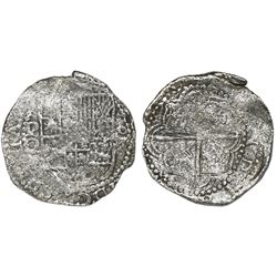 Potosi, Bolivia, cob 8 reales, Philip III, assayer Q, no Grade on certificate (probably Grade 2).