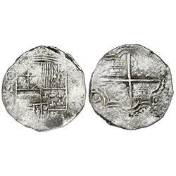 Potosi, Bolivia, cob 8 reales, (1)617M, date at 7 o'clock, Grade 1.