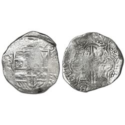 Potosi, Bolivia, cob 8 reales, 1617M, date at 7 o'clock, Grade 1, ex-Hebert.