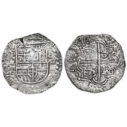 Potosi, Bolivia, cob 8 reales, 1620T, Grade 1, vintage certificate.