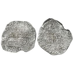 Potosi, Bolivia, cob 8 reales, (16)21T, upper half of shield and quadrants of cross transposed, Grad
