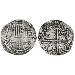 Potosi, Bolivia, cob 8 reales, 1622T, upper half of shield and quadrants of cross transposed, rare,