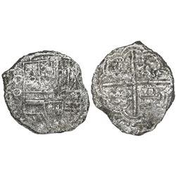 Potosi, Bolivia, cob 8 reales, Philip III, assayer Q, Grade 3.