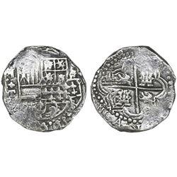 Potosi, Bolivia, cob 8 reales, Philip III, assayer T, retrograde mintmark, upper half of shield and
