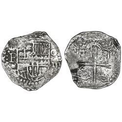 Potosi, Bolivia, cob 8 reales, Philip III, assayer T, large mintmark and denomination as O-V-III (at