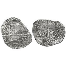 Potosi, Bolivia, cob 8 reales, Philip III, assayer T, mintmark q/P (retrograde over regular), quadra