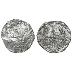 Potosi, Bolivia, cob 8 reales, Philip III, assayer not visible, Grade 2.