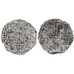 Potosi, Bolivia, cob 4 reales, Philip III, assayer R (curved leg), Grade 3.