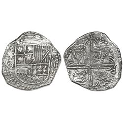 Potosi, Bolivia, cob 4 reales, Philip III, assayer Q, Grade 1, ex-Vanguard.