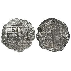 Potosi, Bolivia, cob 4 reales, Philip III, assayer Q, Grade 3.