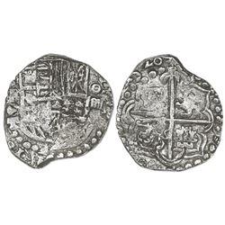 Potosi, Bolivia, cob 4 reales, 1620T, Grade 2.