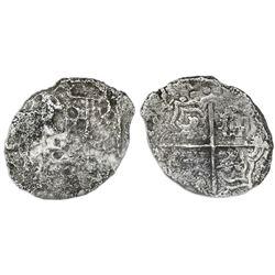 Potosi, Bolivia, cob 4 reales, 1621(T), quadrants of cross transposed, Grade 3.