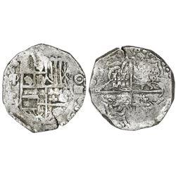 Potosi, Bolivia, cob 4 reales, Philip III, assayer T, mintmark q/P (retrograde over regular), Grade