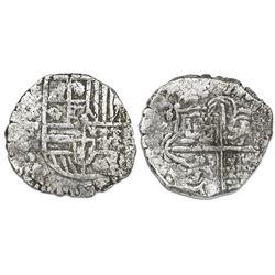 Potosi, Bolivia, cob 4 reales, Philip III, assayer T, Grade 3.